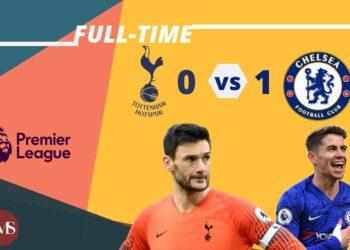 Skor akhir pertandingan, Tottenham Hotspur (0)  vs (1) Chelsea. (Desain oleh Muhamad Ishlahuddin)