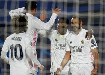 Pemain Real Madrid melakukan selebrasi usai mencetak gol ke gawang Atlanta. (Foto: AFP/Pierre-Philippe Marcou)