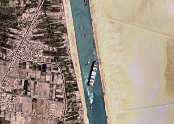 Penampakan saat kapal tanker M/T Rumford saat mogok di Terusan Suez pada Selasa, 6 April 2021. (Foto: Istimewa)