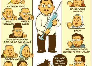 Kontroversial Vaksin Nusantara dalam karikatur. (Foto: Istimewa)