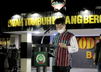 Wali Kota Batam, Muhammad Rudi, saat memimpin apel gabungan penegakan protokol kesehatan. (Foto: Humas Pemko)