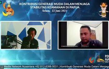 """Webinar """"Kontribusi Generasi Muda Dalam Menjaga Stabilitas Keamanan PON di Papua""""."""