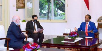 Presiden Joko Widodo menerima Wakil Presiden Eksekutif Komisi Eropa untuk Kebijakan Hijau Eropa dan Iklim, Frans Timmermans di Istana Merdeka, Senin, 18 Oktober 2021.